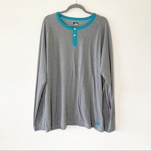 The North Face Men's Gray Teal Flashdry Henley XL